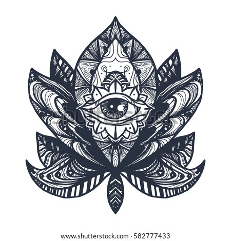 Vintage All Seeing Eye in Mandala Lotus. Providence magic symbol for print, tattoo, coloring book,fabric, t-shirt, cloth in boho style. Astrology, occult, esoteric insight sign with eye. Vector #582777433