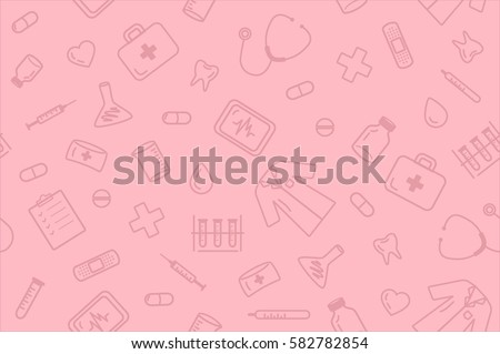 Seamless outline medical equipment pattern on pink background #582782854