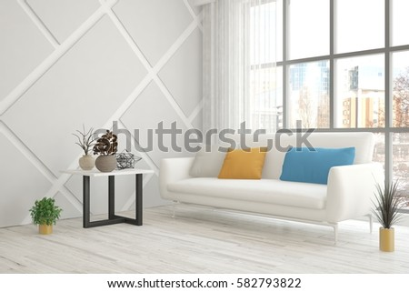 White room with sofa and urban landscape in window. Scandinavian interior design. 3D illustration #582793822