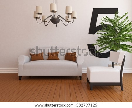 White living room interior with sofa. Scandinavian interior design. 3D illustration #582797125