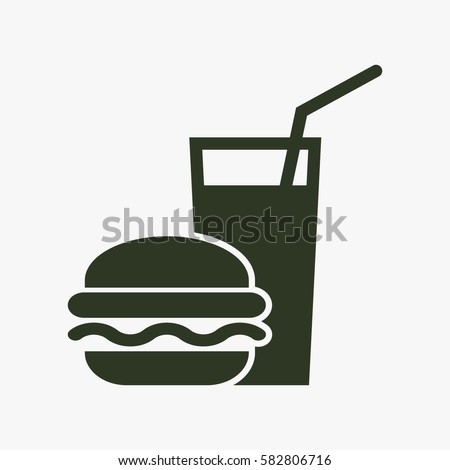 Burger with soft drink vector icon. Royalty-Free Stock Photo #582806716