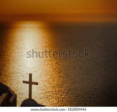 in   santorini    greece sunset and    the sky    mediterranean    red sea #582809446
