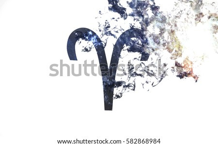 Zodiac sign - Aries. Dust of the universe, minimalistic art. Elements of this image furnished by NASA