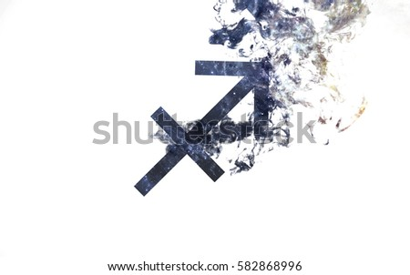 Zodiac sign - Sagittarius. Dust of the universe, minimalistic art. Elements of this image furnished by NASA