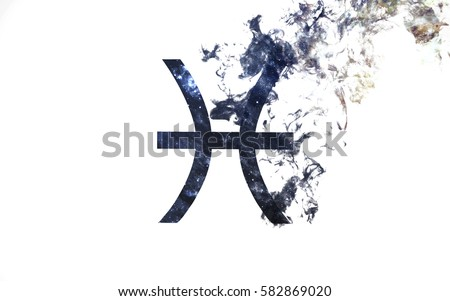 Zodiac sign - Pisces. Dust of the universe, minimalistic art. Elements of this image furnished by NASA