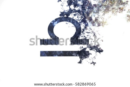 Zodiac sign - Libra. Dust of the universe, minimalistic art. Elements of this image furnished by NASA