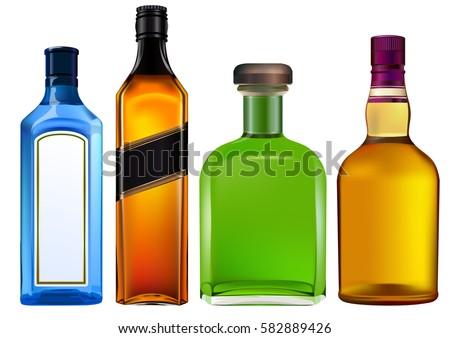 Colorful alcohol bottles set isolated on white. #582889426