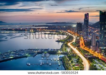 Avenida Balboa at Dusk in Panama City, Panama #583010524