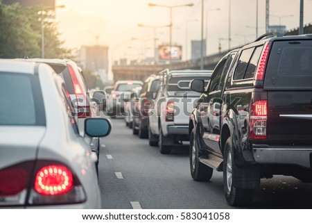 traffic jam with row of car on express way #583041058