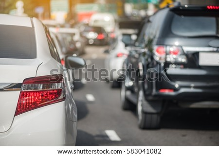 traffic jam with row of car on express way #583041082