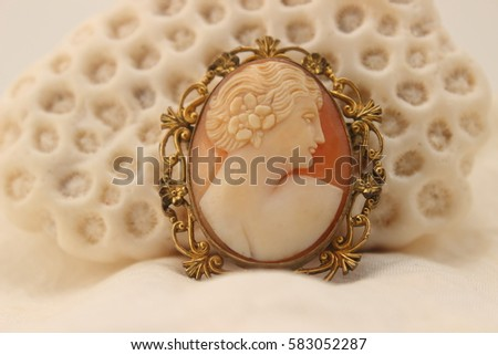 antique cameo leaning on aral shell #583052287