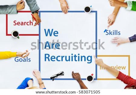 Recruitment Jobs Career Hiring Vacancy Word Royalty-Free Stock Photo #583071505