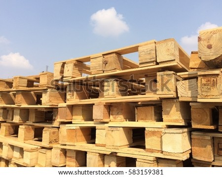 Rayong Thailand , February 20 - 2017 : wood pallets in factory for scrap recycling in Thailand #583159381