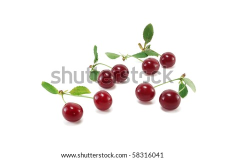 Ripe cherries isolated on white background #58316041