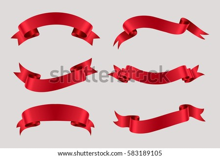 Vector red ribbons.Ribbon banner set.  Royalty-Free Stock Photo #583189105