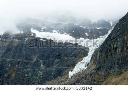 Glacier on a mountain near Jasper Alberta Canada on a foggy day. #5832142