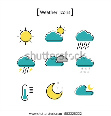 Vector weather icons set. #583328332