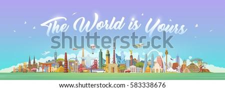 Travel to World. Road trip. Big set of famous landmarks of the world. Concept website template. Vector illustration. Web banner. Modern flat design. #2 #583338676
