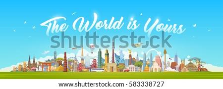 Travel to World. Road trip. Big set of famous landmarks of the world. Concept website template. Vector illustration. Web banner. Modern flat design. #1 #583338727