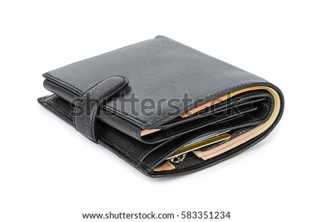 Black leather wallet isolated on white background Royalty-Free Stock Photo #583351234
