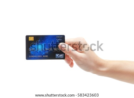 Hand holding credit card isolated on white #583423603