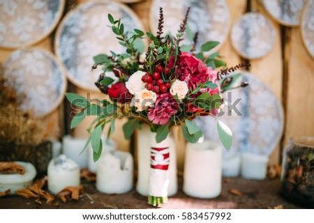 wedding bouquet stay with candle #583457992