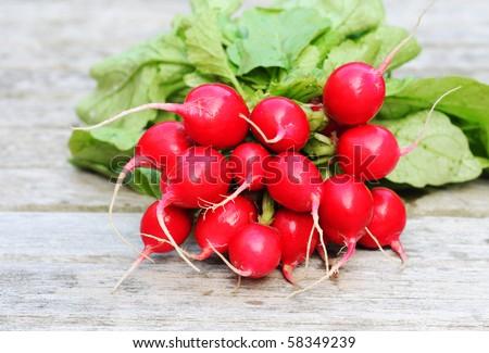 Fresh washed radishes with green , shallow dof #58349239
