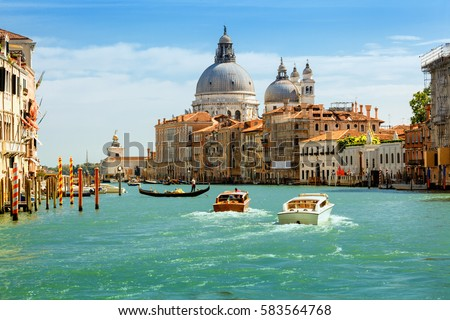 Grand canal and Basilica Santa Maria della Salute, Venice, Italy. #583564768