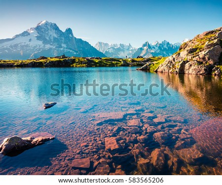 Colorful summer view of Lac Blanc lake with Mont Blanc (Monte Bianco) on background, Chamonix location. Beautiful outdoor scene in Vallon de Berard Nature Reserve, Graian Alps, France, Europe.  #583565206