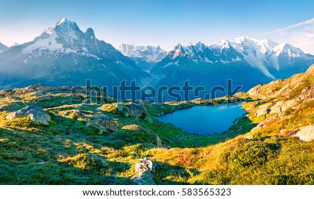Colorful summer view of the Lac Blanc lake with Mont Blanc (Monte Bianco) on background, Chamonix location. Beautiful outdoor scene in Vallon de Berard Nature Reserve, Graian Alps, France, Europe.  #583565323