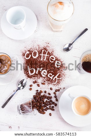 coffee party concept - lots of coffee cups with coffee break lettering #583574113