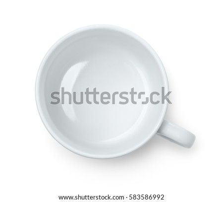 Top view of empty coffee cup isolated on white #583586992