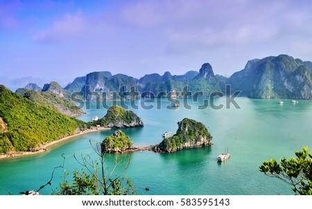 Karst landforms in the sea, the world natural heritage - halong bay #583595143