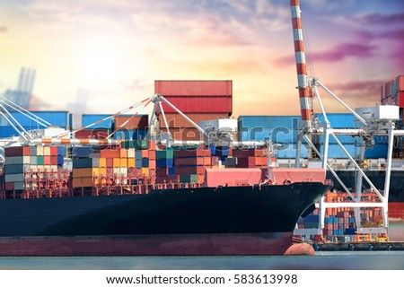 Logistics and transportation of International Container Cargo ship in the ocean at Sunset sky, Freight Transportation, Shipping #583613998