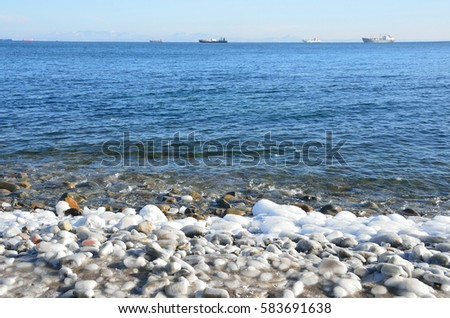 Vladivostok, Sobol bay in winter in clear weather #583691638
