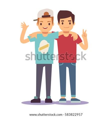 Adult guys, men, two best friends. Friendship vector concept