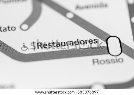 Restauradores Station. Lisbon Metro map. #583876897