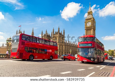 Big Ben, Westminster Bridge and red double decker bus in London, England, United Kingdom Royalty-Free Stock Photo #583939735