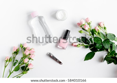salt and cream for nail care in spa top view #584010166