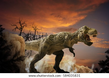 dinosaur art mountain landscape with Partly cloudy