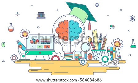 Flat line knowledge and creative education graphic design with creativity school and stationary sign and symbol icon with isolated background concept, create by vector
