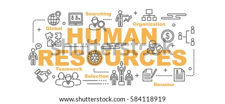 human resources vector banner design concept, flat style with thin line art icons on white background Royalty-Free Stock Photo #584118919