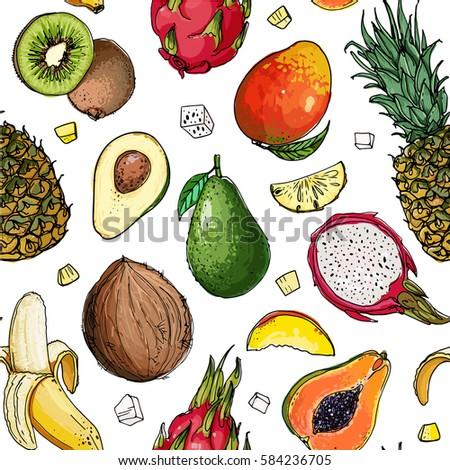 Pattern of fruit. Fresh food. Pineapple, avocado, papaya, apricot, mango, grape, pitahaya line drawn on a white background. Vector illustration.  #584236705