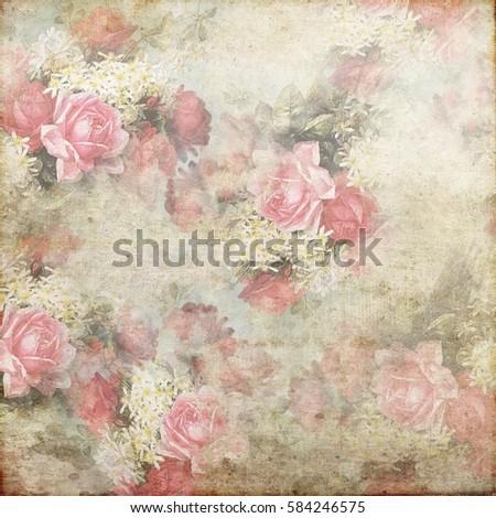 Vintage Shabby Grunge Flowers Texture Pattern Background