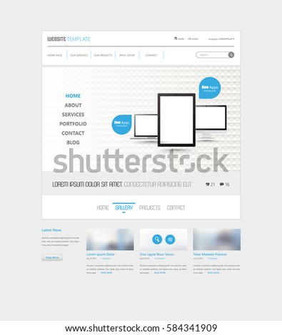 Clean Simple Minimalistic Website Interface Template, Vector Illustration. #584341909