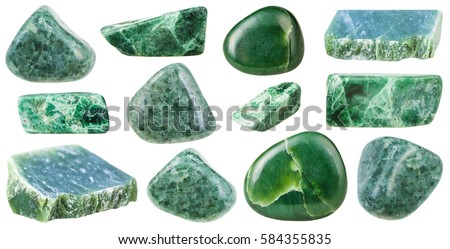 collection of various tumbled green jade mineral stones (nephrite and jadeite) isolated on white background #584355835