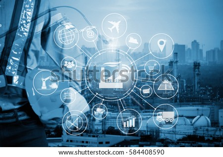 Industry 4.0 concept, smart factory with icon flow automation and data exchange in manufacturing technologies. #584408590