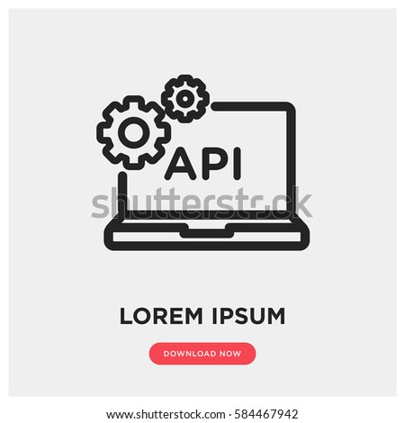 api vector icon, computer web service symbol. Modern, simple flat vector illustration for web site or mobile app