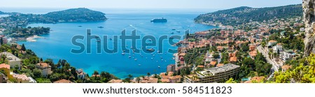 Ultra large panoramic shot of Cote d'Azur beachfront, Nice, France Royalty-Free Stock Photo #584511823