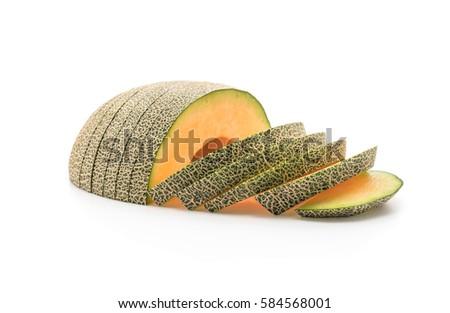 cantaloupe melon on white background #584568001